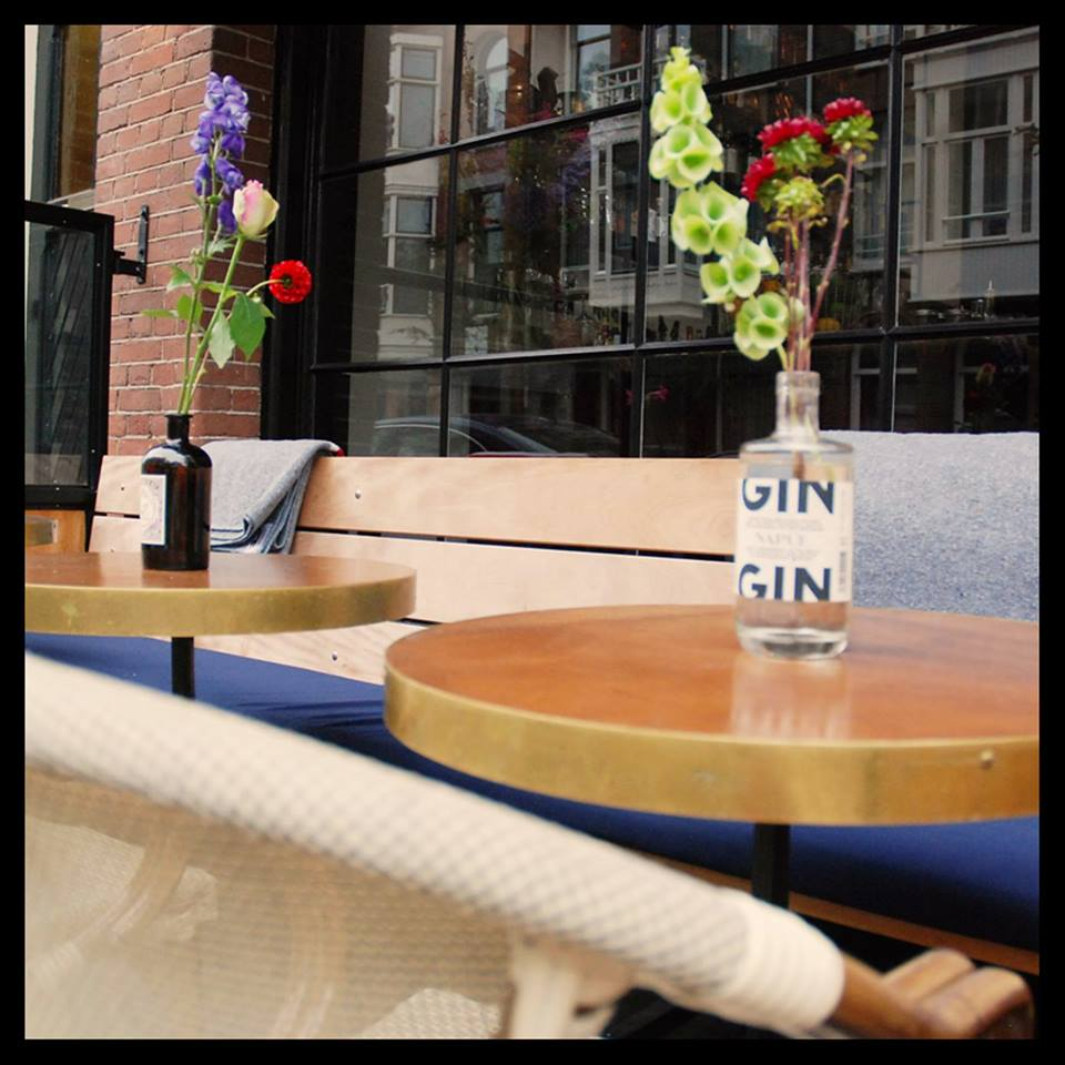 Tables and benches we made for the terrace of cafe Carter